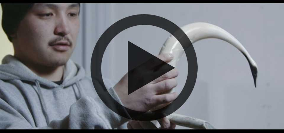 Play Video about Ulukhaktok Arts Centre Muskox Horn Carvings